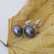 Perlové náušničky - Kiki black 8,5 mm (4)