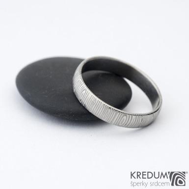 Prima - kolečka - Snubní prsten damasteel, SK1301