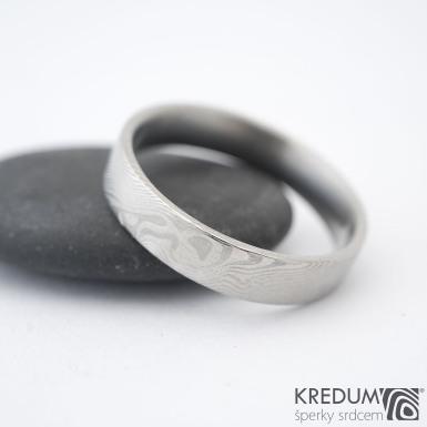 Prima - 64,5 CF, šířka 5 mm, tloušťka 1,7 mm, profil F, 50% světlý - Damasteel snubní prsteny sk1296