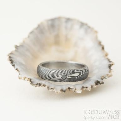 Prima a černý diamant 2,3 mm - 50, šířka 4,5 mm, tloušťka střední, dřevo 100% TM, profil B - Snubní prsteny damasteel - K 2185 (2)