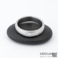 PRIMA + čirý diamant 2,3 mm - Snubní prsten kovaná nerezová ocel damasteel, SK1358