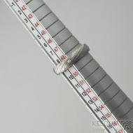 Prima a čirý diamant 1,5 mm, voda - 49, šířka 4 mm, tloušťka 13,6 mm, lept 75% SV, B - Damastele snubní prsteny, SK2117 (2)