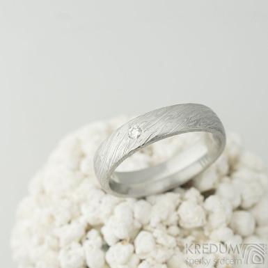 Prima a čirý diamant 2,3 mm - 58, šířka 5 mm, tloušťka 2 mm, voda 75%SV, E - Snubní prsteny z oceli damasteel - k 2111