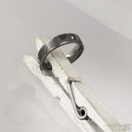 Prima a čirý diamant 2 mm, dřevo - Snubní prsten nerezová ocel damasteel, S1556 - 51,5 CF, šířka 5, tloušťka 1,9 mm, 100% TM, F