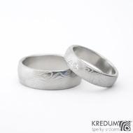 Prima a diamant 2 mm - kovaný damasteel snubní nebo zásnubní prsten