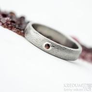 Prima a dranát 1,7 mm do Ag - 53, šířka 4 mm, tloušťka 1,6 mm, dřevo - lept 75% SV, profil B - Damasteel snubní prsteny - SK2118 (6)