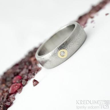 Prima a moissanite 2 mm do Au - 58, šířka 6 mm, kolečka - lept 75% SV, profil B - Snubní prsteny z damasteelu - k 1884 (3)