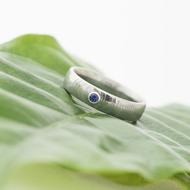 Prima a safír 2,2 mm do Ag - 52, šířka 4,5 mm, tloušťka 1,6 mm, struktura čářky 50 SV, profil E - Zásnubní prsten - sk2932 (3)
