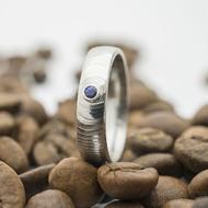 Prima a safír 2,2 mm do Ag - 52, šířka 4,5 mm, tloušťka 1,6 mm, struktura čářky 50 SV, profil E - Zásnubní prsten - sk2932 (4)