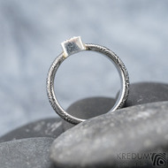 Prima Cube lady zirkon 4,5 mm - stará kolečka, velikost 52,5, šířka 4,6 mm, tloušťka 1,9 mm, lept 100% TM, profil B - Damasteel zásnubní prsten, SK1634 (13)