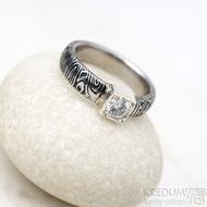 Prima Cube lady zirkon 4,5 mm - stará kolečka, velikost 52,5, šířka 4,6 mm, tloušťka 1,9 mm, lept 100% TM, profil B - Damasteel zásnubní prsten, SK1634 (16)