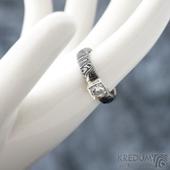 Prima Cube lady zirkon 4,5 mm - stará kolečka, velikost 52,5, šířka 4,6 mm, tloušťka 1,9 mm, lept 100% TM, profil B - Damasteel zásnubní prsten, SK1634 (5)