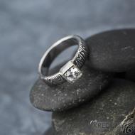 Prima Cube lady zirkon 4,5 mm - stará kolečka, velikost 52,5, šířka 4,6 mm, tloušťka 1,9 mm, lept 100% TM, profil B - Damasteel zásnubní prsten, SK1634 (7)