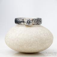 Prima Cube lady zirkon 4,5 mm - stará kolečka, velikost 52,5, šířka 4,6 mm, tloušťka 1,9 mm, lept 100% TM, profil B - Damasteel zásnubní prsten, SK1634 (3)