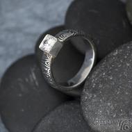 Prima Cube lady zirkon 4,5 mm - stará kolečka, velikost 52,5, šířka 4,6 mm, tloušťka 1,9 mm, lept 100% TM, profil B - Damasteel zásnubní prsten, SK1634 (11)