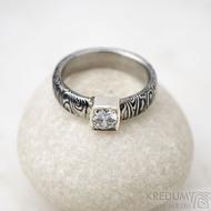 Prima Cube lady zirkon 4,5 mm - stará kolečka, velikost 52,5, šířka 4,6 mm, tloušťka 1,9 mm, lept 100% TM, profil B - Damasteel zásnubní prsten, SK1634 (2)