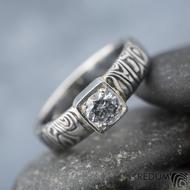 Prima Cube lady zirkon 4,5 mm - stará kolečka, velikost 52,5, šířka 4,6 mm, tloušťka 1,9 mm, lept 100% TM, profil B - Damasteel zásnubní prsten, SK1634 (8)