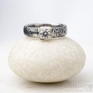 Prima Cube lady zirkon 4,5 mm - stará kolečka, velikost 52,5, šířka 4,6 mm, tloušťka 1,9 mm, lept 100% TM, profil B - Damasteel zásnubní prsten, SK1634 (4)