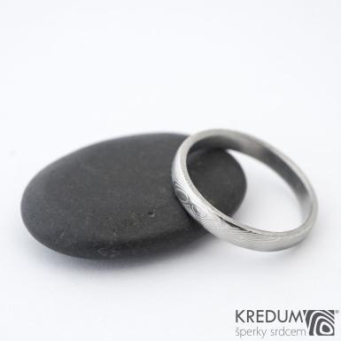 Prima - dřevo - Snubní prsten damasteel, SK1297