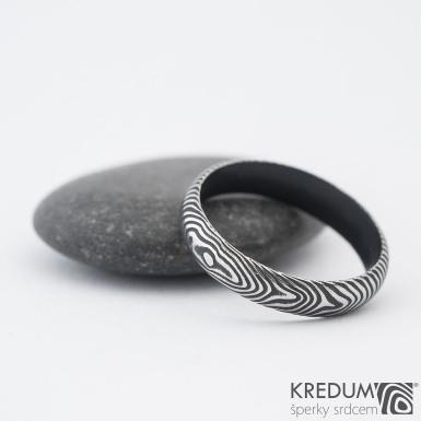 Prima DLC - struktura čárky - Snubní prsten damasteel, SK1183