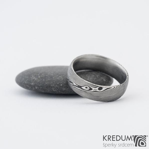 Prima DLC - struktura dřevo - Snubní prsten damasteel, SK1182