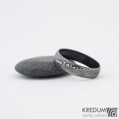 Prima DLC - struktura dřevo - Snubní prsten damasteel, SK1195