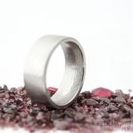 Prima dřevo - 53,5, leptaný vnitřkem, šířka 7 mm, tloušťka 2 mm, lept 25% SV, F - Snubní prsten damasteel SK2114 (4)