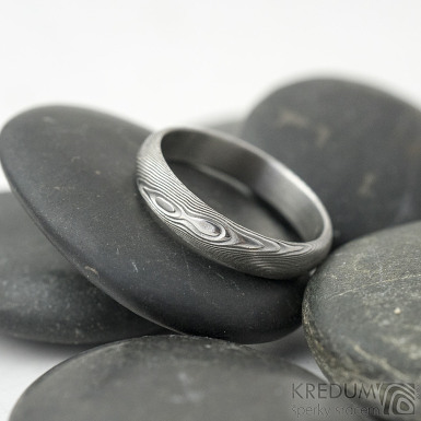 Prima dřevo - 53, šířka 4 mm, tloušťka 1,4 mm, lept 75SV, A - Damasteel snubní prsteny - SK2116 (2)