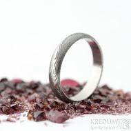 Prima dřevo - 53, šířka 4 mm, tloušťka 1,4 mm, lept 75SV, A - Damasteel snubní prsteny - SK2116 (5)