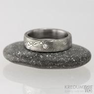 Prima, dřevo s1657 - diamant 2,3 mm - 48 4,6  mm lept 100% TM profil C - Snubní prsteny damasteel