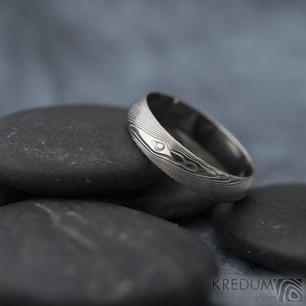Prima - dřevo - Snubní prsten damasteel, SK1294
