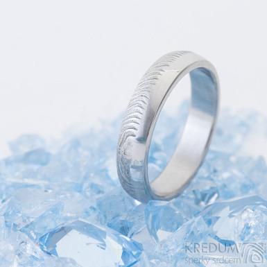 Prima DUO, čárky - Snubní prsten damasteel, SK2461