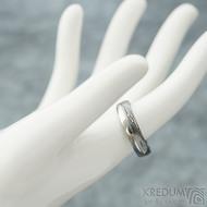 Prima Duo s linkou - kovaný snubní prsten damasteel - struktora dřevo - produkt SK2239