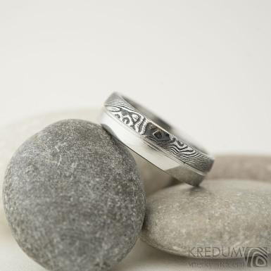 Prima DUO s linkou - Snubní prsten damasteel - dřevo