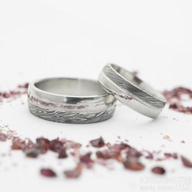 Prima DUO s linkou, voda - Snubní prsten damasteel