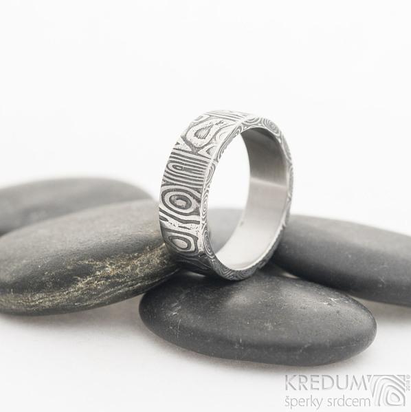 Prima Fenja - 61,5, šířka 7,1 mm, tloušťka 1,9 mm, lept 75% zatmavený, profil C - Damasteel snubní prsteny, sk2523 (3)