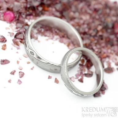 Prima glanc - dřevo - Snubní prsten damasteel
