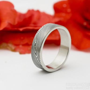 Prima glanc - dřevo - Snubní prsten damasteel - produkt SK3178