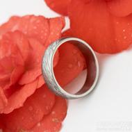Prima glanc - struktura voda - Snubní prsten damasteel, velikost 55, šířka 5,2 mm, tloušťka 1,5 mm, profil B - produkt SK3182