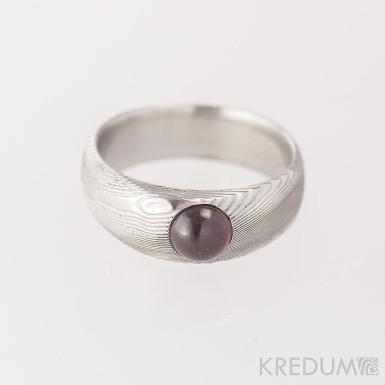 PRIMA a kámen kabošon - struktura dřevo - Snubní prsten nerezová ocel damasteel
