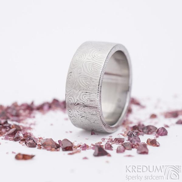Prima kolečka - velikost 59,5, šířka 9 mm, tloušťka 2 mm, lept 75%světlý, C - Damasteel snubní prsten, sk2684 (3)
