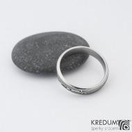 Prima line - Snubní prsten kovaná nerezová ocel damasteel, SK1274
