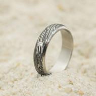 Prima line - damasteel zásnubní/snubní prsten, struktura voda, velikost 53, šířka 5 mm, lept 75% - zatmavený, profil A - produkt SK3042