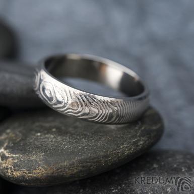 Prima line - Snubní prsten kovaná nerezová ocel damasteel, SK1611