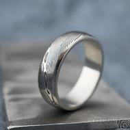 Prima line - Snubní prsten kovaná nerezová ocel damasteel, SK1474