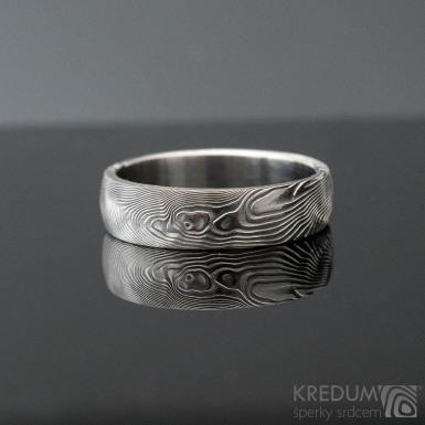 Prima překované dřevo, velikost 60, šířka 5,7 mm, tloušťka stěny 1,8 mm, profil B, lept 75% SV - Damasteel snubní prsteny - produkt SK1299