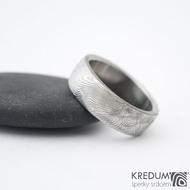 Prima - překované dřevo, lept 75% sv, vel 50, šířka 6,1 mm, tloušťka 1,8 mm, profil B - Damasteel snubní prsteny - sk1298  (2)