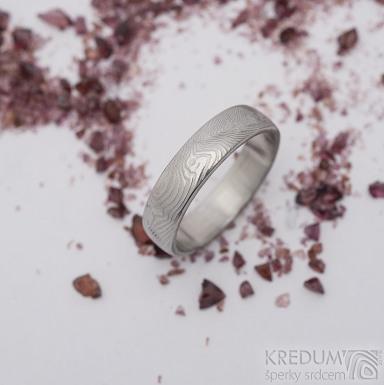 Prima, překované dřevo - velikost 60,5, šířka 5,1 mm, tloušťka 1,5 mm, lept světlý, profil B - Damasteel snubní prsten - sk2658 (3)