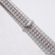 Prima, překované dřevo - velikost 60,5, šířka 5,1 mm, tloušťka 1,5 mm, lept světlý, profil B - Damasteel snubní prsten - sk2658 (6)