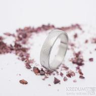 Prima, překované dřevo - velikost 60,5, šířka 5,1 mm, tloušťka 1,5 mm, lept světlý, profil B - Damasteel snubní prsten - sk2658 (5)
